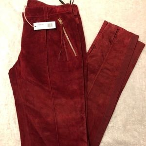 Pants - ROBERTO CAVALLI Red Suede Lined Skiiny Ankle Pants